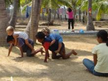 kids playing on Gili Trawangan
