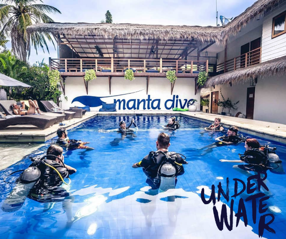 Divers in Manta training pool during Scuba Skills Update
